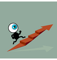The blue eye running to top of graph path arrow vector image vector image