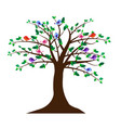 tree with cute birds vector image