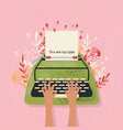 typewriter and love note with hand lettering vector image vector image