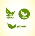 Vegan vegetarian logo icon set vector image vector image