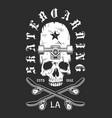 vintage skateboarding monochrome emblem vector image vector image