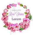 watercolor rose wreath decoration round vector image