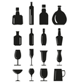 Wine glass and bottle Icons set vector image vector image