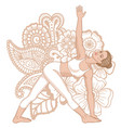Women silhouette revolved triangle yoga pose vector image