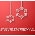 Silhouette of text and snowflakes on a red vector image