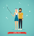 Young couple taking a selfie with selfie stick vector image