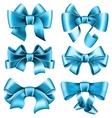 Six blue bows vector image