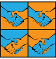 handshake in several versions vector image