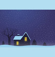 winter landscape with house and tree vector image