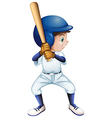 A young male baseball player vector image vector image