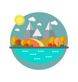 autumn landscape with mountains in the flat style vector image