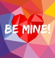 Be mine card with heart on wrapping surface vector image vector image