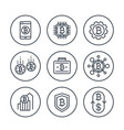 bitcoin investments payments exchange line icons vector image vector image