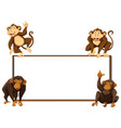 border template with four monkeys vector image vector image