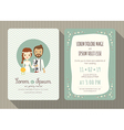 cartoon wedding invitation card template vector image