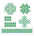 celtic irish pattern and braid set vector image