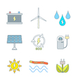 colored outline recycle ecology energy icons vector image vector image