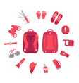 contents a hiking backpack camping knapsack vector image vector image