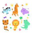 cute jungle animal collection vector image