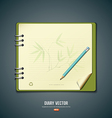 Diary green book with bamboo background vector image
