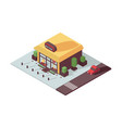 fashion building shop exterior in isometric 3d vector image