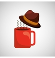 fathers day hat and coffee icon design vector image