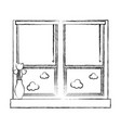 figure window with blind curtain and fower inside vector image