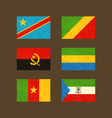Flags of Congo Angola Cameroon Gabon vector image vector image