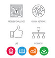 global network like and hierarchy icons vector image