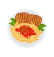 Grilled Beef Steaks With A Side Of Penne Pasta vector image vector image