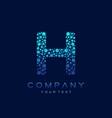 H letter logo science technology connected dots