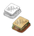 hand drawn sandwich black and white and color vector image vector image
