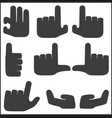 hands icons set black pointers vector image