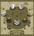 kitchen color isometric concept icons set vector image vector image