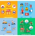 Lifeguard 4 Flat Icons Square Composition vector image vector image