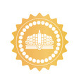luxurious ancient crown on golden royal stamp vector image