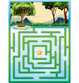 Maze game with nature background vector image