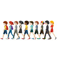 Men and women walking vector image vector image