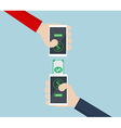 Money TransferMoblie Banking on Smart Phone vector image vector image