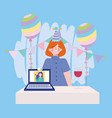 online party birthday or meeting friends woman vector image vector image
