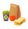 paper bag package with healthy breakfast coffee vector image vector image