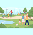 people in city park happy families walking dog vector image vector image