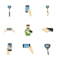 Photo on smartphone icons set cartoon style vector image vector image
