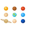 plantes of solar system icon set vector image vector image