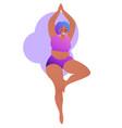 plus size black curvy lady doing yoga class vector image