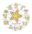 round concept of ctarfish and summer icons vector image vector image