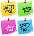 Safety First Sticky Note vector image vector image