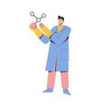 scientist holding large model molecular vector image