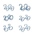 set 2020 text design template vector image vector image