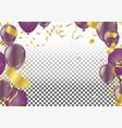 set air balls gold and purple balloons festive vector image